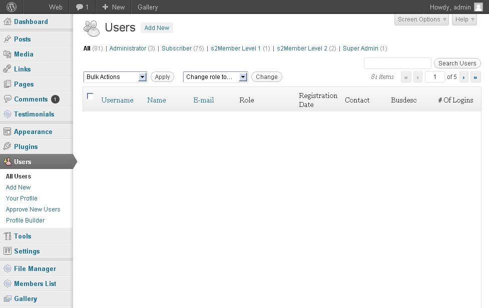 WP Admin dashboard example