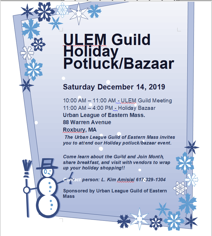 Urban League of Eastern Mass Guild Potluck and Holiday Bazaar 2019 Flyer